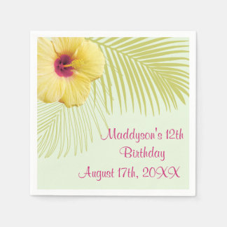Tropical Hibiscus and Palm Party Napkins Disposable Serviette