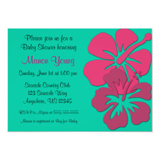 """Tropical Hibiscus Baby or Bridal Shower Invitation 5"""" X 7"""" Invitation Card"""
