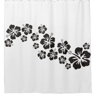 Tropical Hibiscus blooms garland black Shower Curtain