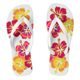 Tropical Hibiscus blooms trio gradients colored Flip Flops