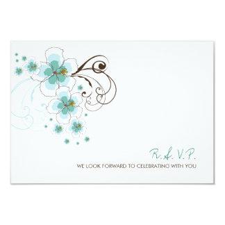 Tropical Hibiscus Blue Beach Wedding RSVP Card