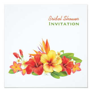 Tropical Hibiscus Bridal Shower 13 Cm X 13 Cm Square Invitation Card