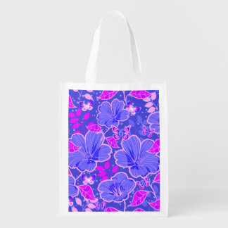 Tropical Hibiscus & Butterflies Pink & Slate Blue Reusable Grocery Bag