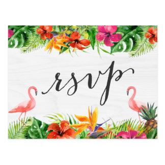 Tropical Hibiscus Floral Flamingo RSVP Reply Postcard