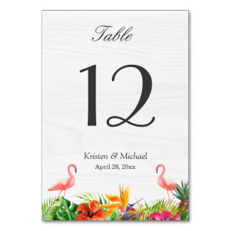Tropical Hibiscus Floral Flamingo Table Number Table Card