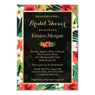 Tropical Hibiscus Floral Gold Frame Bridal Shower 13 Cm X 18 Cm Invitation Card