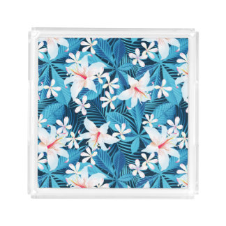 Tropical Hibiscus Floral Pattern 2 Acrylic Tray