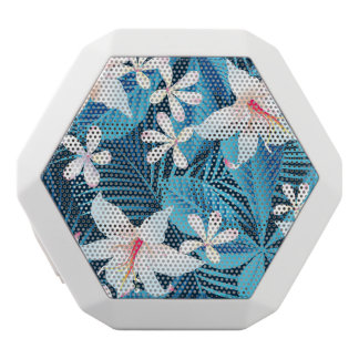 Tropical Hibiscus Floral Pattern 2 White Boombot Rex Bluetooth Speaker