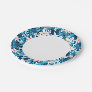 Tropical Hibiscus Floral Pattern 2 Paper Plate