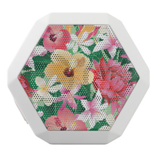 Tropical Hibiscus Floral Pattern White Boombot Rex Bluetooth Speaker