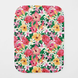 Tropical Hibiscus Floral Pattern Burp Cloth