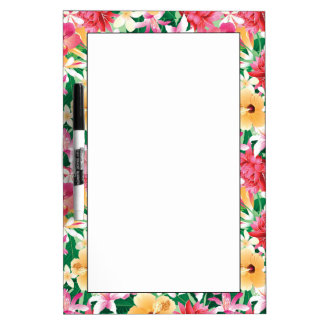 Tropical Hibiscus Floral Pattern Dry Erase Board