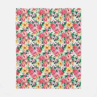 Tropical Hibiscus Floral Pattern Fleece Blanket