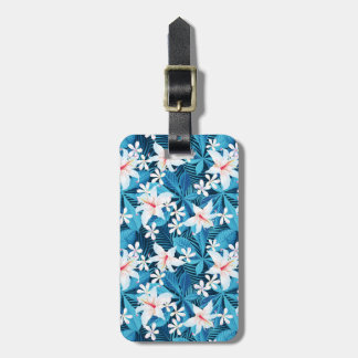 Tropical Hibiscus Floral Pattern Luggage Tag