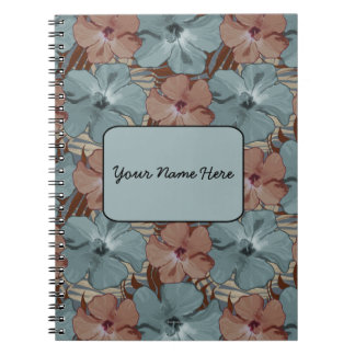 Tropical Hibiscus Floral Pattern Neutral Gray Rust Spiral Notebook