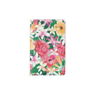 Tropical Hibiscus Floral Pattern Pocket Moleskine Notebook