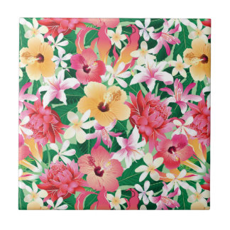 Tropical Hibiscus Floral Pattern Small Square Tile