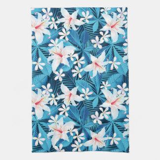 Tropical Hibiscus Floral Pattern Tea Towel