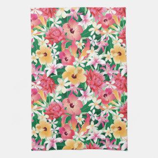 Tropical Hibiscus Floral Pattern Tea Towels