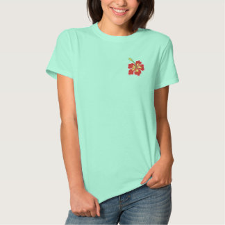 Tropical hibiscus flower embroidered women's shirt embroidered shirts
