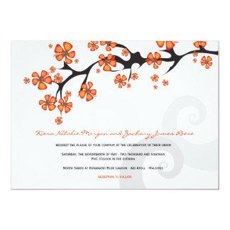 Tropical Hibiscus Flower Fusion Swirls Wedding Announcement