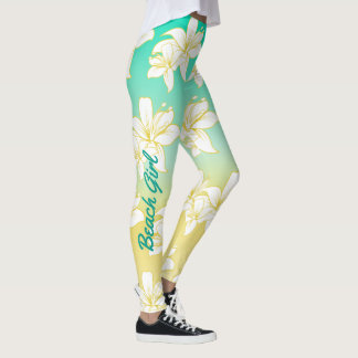 Tropical Hibiscus Flower Pattern and Text Leggings