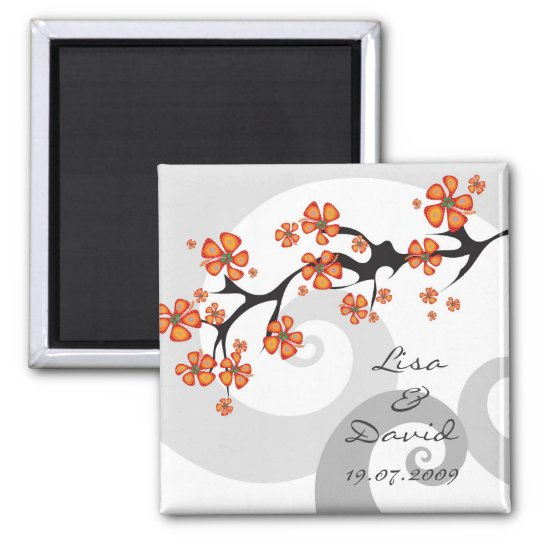Tropical Hibiscus Flower Swirls Wedding Magnet