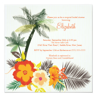 Tropical Hibiscus Flowers Bridal Shower 13 Cm X 13 Cm Square Invitation Card
