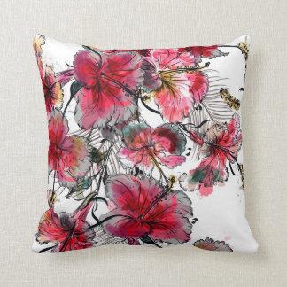 Tropical hibiscus flowers cushion
