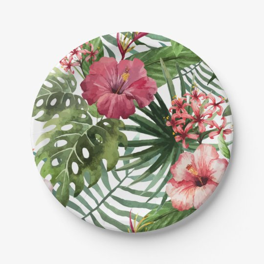 Tropical hibiscus flowers foliage pattern 7 inch paper plate
