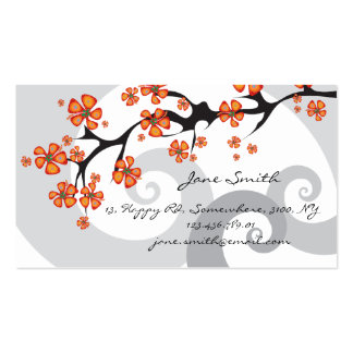 Tropical Hibiscus Flowers Fusion Swirls Modern Business Card Templates