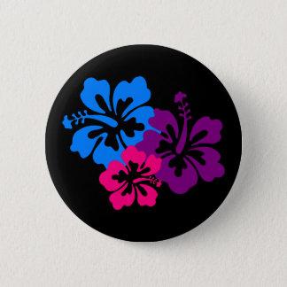 Tropical Hibiscus Flowers in Bright Colors 6 Cm Round Badge