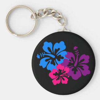 Tropical Hibiscus Flowers in Bright Colors Key Ring