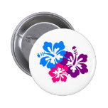 Tropical Hibiscus Flowers in Bright Colours Badges