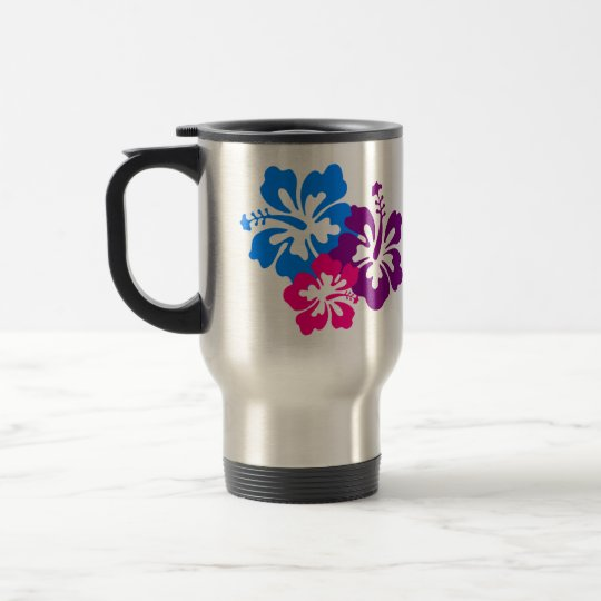 Tropical Hibiscus Flowers in Bright Colours Travel Mug