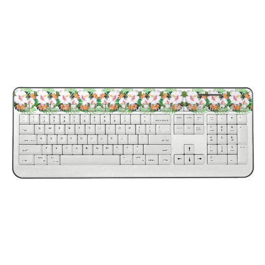 Tropical Hibiscus Flowers Island Wireless Keyboard