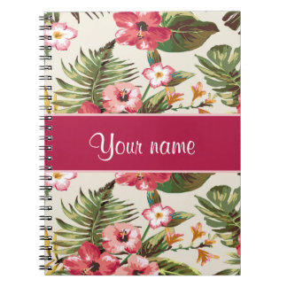 Tropical Hibiscus Flowers Pattern Notebook