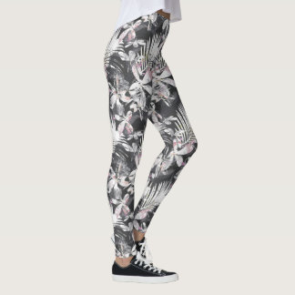 Tropical hibiscus flowers sketch leggings