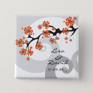 Tropical Hibiscus Flowers Swirls Wedding Button