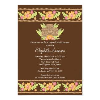 Tropical Hibiscus Flowers & tiki  Bridal Shower Card