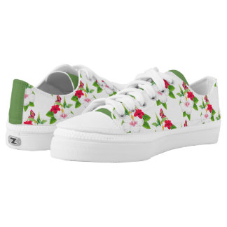 Tropical Hibiscus Green Pink Printed Shoes