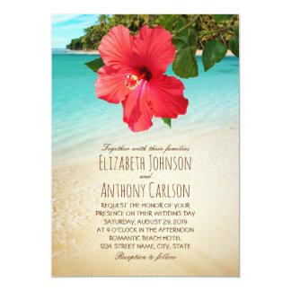 Tropical Hibiscus Hawaiian Beach Themed Wedding 13 Cm X 18 Cm Invitation Card