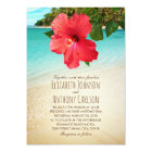 Tropical Hibiscus Hawaiian Beach Themed Wedding Card