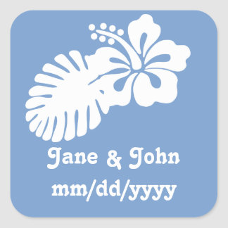 Tropical Hibiscus in Periwinkle Sticker