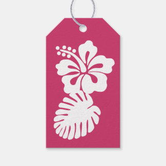 Tropical Hibiscus in Raspberry Gift Tag