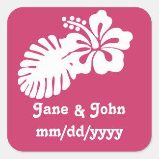 Tropical Hibiscus in Raspberry Sticker