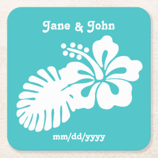 Tropical Hibiscus in Turquoise Paper Coaster