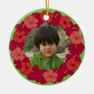 Tropical Hibiscus Lei Photo Ornament