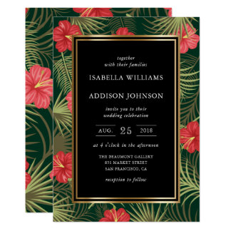 Tropical Hibiscus & Palm Fronds Wedding Card