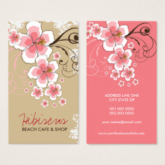 Tropical Hibiscus Pink Flower Vintage Modern Chic Business Card
